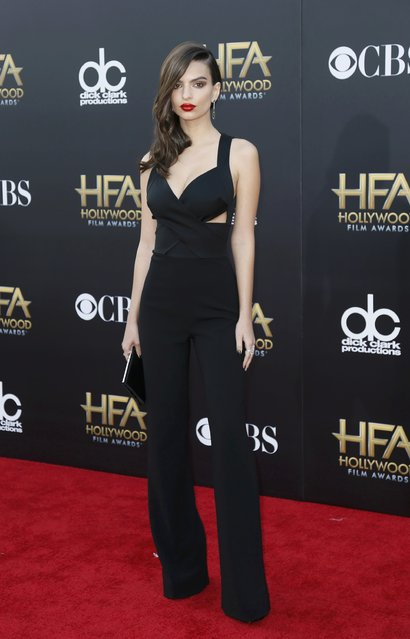 Model Emily Ratajkowski arrives at the Hollywood Film Awards in Hollywood, California November 14, 2014. (Photo by Danny Moloshok/Reuters)