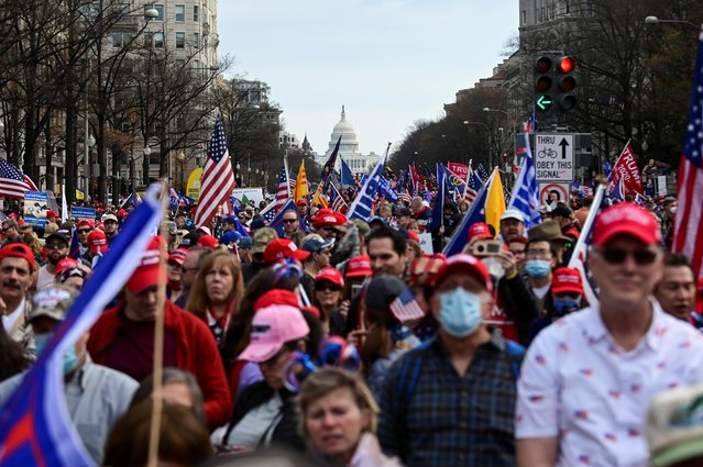 """People gather on Pennsylvania Avenue for the """"Stop the Steal"""" rally in support of U.S. President Donald Trump, in Washington, U.S., December 12, 2020. (Photo by Erin Scott/Reuters)"""