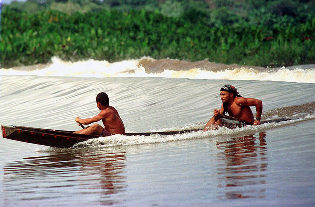 Villagers ride the Pororoca wave in a canoe as it passes near their town of Sao Domingos do Capim, northern Brazil, on March 12, 2001. (Photo by Paulo Santos/AP Photo via The Atlantic)