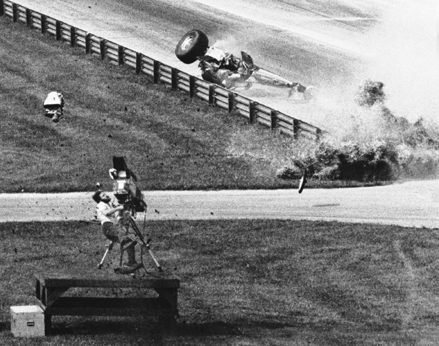 A dragster supercharger hits cameraman Joe Rooks of Bowling Green, Ohio, in the back at the U.S. Nationals N.H.R.A. drag races in Indianapolis, Indiana, on Saturday, September 1, 1979. Rooks was knocked flat by the heavy blower from a dragster that turned over and disintegrated near Rooks. Rooks died en route to the hospital. (Photo by Chuck Robinson/AP Photo)