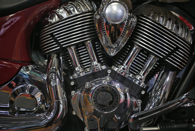 A close up view of an engine of Indian Scout motorcycle at the Indian Auto Expo in Greater Noida, on the outskirts of New Delhi, India, February 4, 2016. (Photo by Anindito Mukherjee/Reuters)