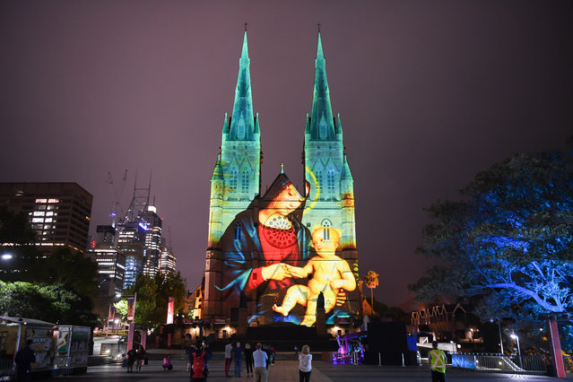 A projected image of the Madonna and Child during The Lights of Christmas Media Preview at St Mary's Cathedral on December 04, 2018 in Sydney, Australia. Now in its ninth year, this iconic free public light projection runs every day till Christmas including Christmas Day. (Photo by James D. Morgan/Getty Images)
