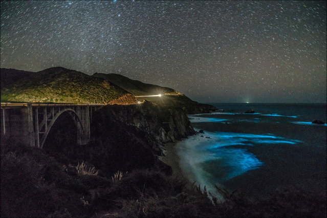 Bioluminescent phytoplankton is seen along the coastal waters at Big Sur, California, February 5, 2018. (Photo by George Krieger via Reuters)