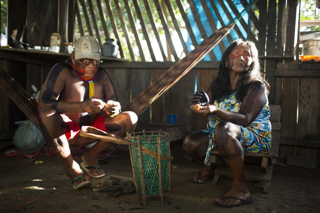 """Bepoti and his wife K pri are the two elders of Poti-Krô. It is the elders' responsibility to pass on the tribe's myths and stories. Villagers are unwilling to share these stories to outsiders, because they are considered the elders' """"property"""". (Taylor Weidman)"""