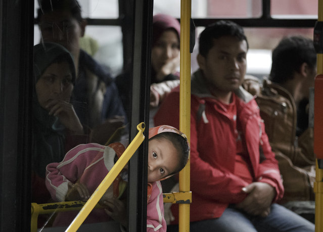 A child peers out from a bus, in Athens, Monday, February 29, 2016, at the Victoria Square, where most newly-landed migrants head after reaching the Greek capital from the Aegean Sea islands. (Photo by Vadim Ghirda/AP Photo)