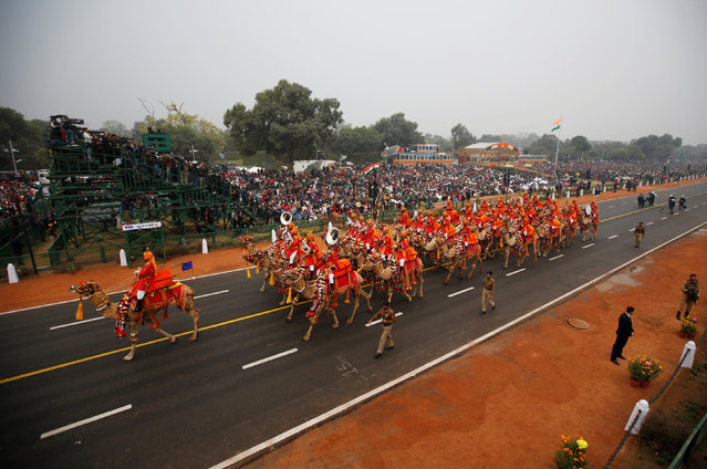Members of the Indian Border Security Force (BSF) band ride their camels as they perform during the Republic Day parade in New Delhi, India January 26, 2017. (Photo by Adnan Abidi/Reuters)