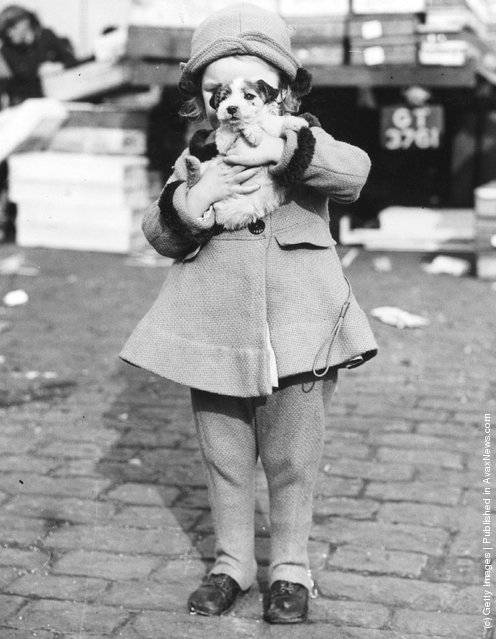 A little girl carries a struggling puppy away from a market where she has just bought him, 1938