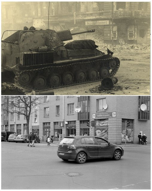 A combination photo shows a Russian armoured vehicle at Ritter Street or Alexandrinen Street in this undated photo taken May 1945 in Berlin (top) and at the same location (bottom) April 21, 2015. (Photo by Georgiy Samsonov (top)/Fabrizio Bensch (bottom)/Reuters/MHM)