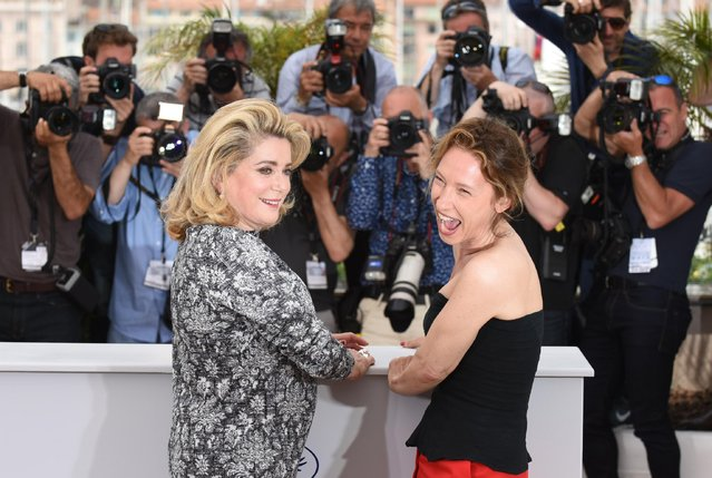 Catherine Deneuve and Emmanuelle Bercot pose for photographers during a photo call for the film La Tete Haute (Standing Tall), at the 68th international film festival, Cannes, southern France, Wednesday, May 13, 2015. (Photo by Arthur Mola/Invision/AP Photo)