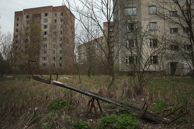 A children's seesaw stands among former apartment buildings on April 9, 2016 in Pripyat, Ukraine. (Photo by Sean Gallup/Getty Images)