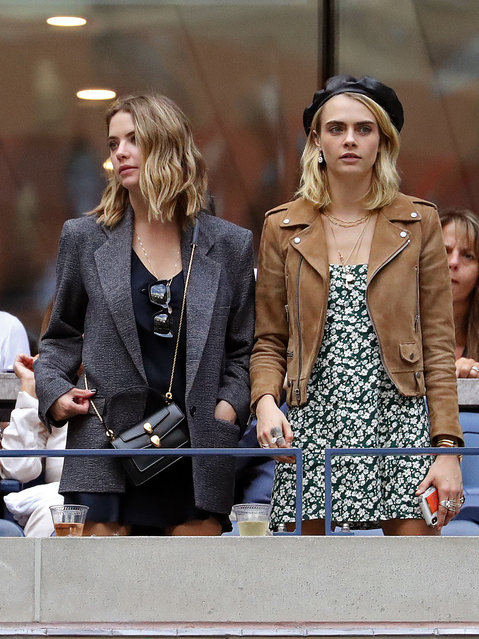 Ashley Benson and Cara Delevingne attend the women's championship match of the 2019 U.S. Open in Arthur Ashe Stadium inside the Billie Jean King National Tennis Center in Flushing NY on September 7, 2019. (Photo by Andrew Schwartz/Splash News and Pictures)