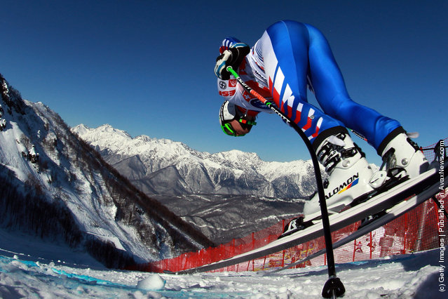 Alexis Pinturault of France starts for the Men's Downhill Training at the Audi FIS World Cup