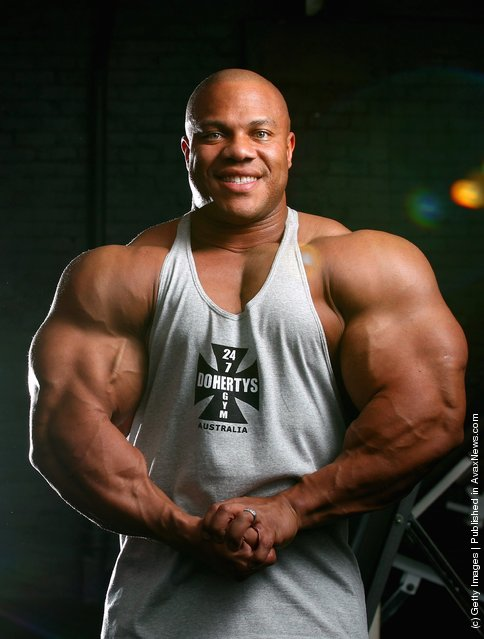 Mr Olympia Phil Heath poses during a media call ahead of the 2012 IFBB Australian Pro Grand Prix XIII