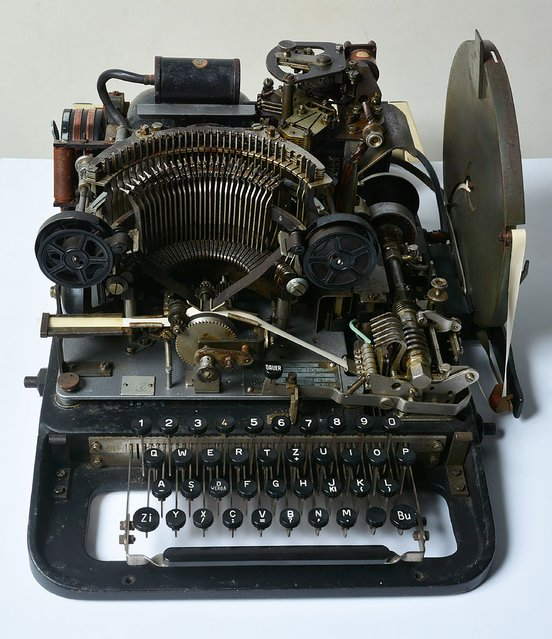 A handout photograph released by the National Museum of Computing on May 29, 2016 shows the teleprinter part of a Lorenz cipher machine that was purchased by the National Museum of Computing from eBay for 10 GBP (14.6 USD, 13.2 euro). One of the machines used to send coded messages between Adolf Hitler and his generals sold for £10 on eBay after being discovered in a shed in England, the buyer said on May 29. (Photo by Charles Coultas/AFP Photo/National Museum of Computing)
