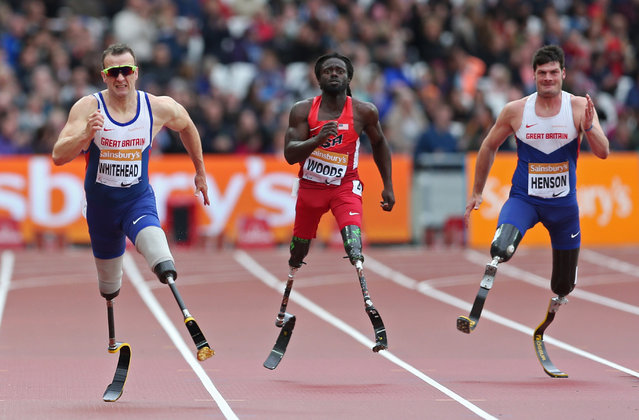 Athletics, Sainsbury's IPC Athletics Grand Prix Final, Olympic Park, London, England July 26, 2015: Great Britain's Richard Whitehead (L) during the 200m Men's T42. (Photo by Matthew Childs/Reuters/Action Images)