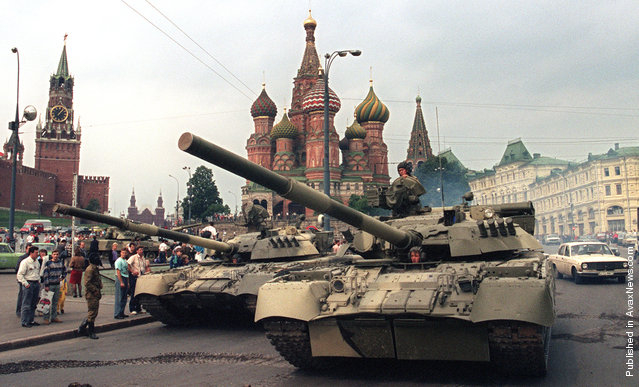 Soviet Army tanks parked near Spassky Gate, an entrance to the Kremlin and Basil's Cathedral in Moscow's Red Square after a coup toppled Soviet President Mikhail Gorbachev on August 19, 1991. Tanks rolled through Moscow towards the Russian White House, where Boris Yeltsin, leader of the Soviet-era Russian republic at the time, gathered his supporters after denouncing the coup
