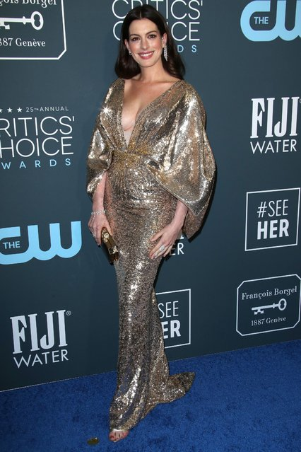 Anne Hathaway attends the 25th Annual Critics' Choice Awards at Barker Hangar on January 12, 2020 in Santa Monica, California. (Photo by Matt Baron/Rex Features/Shutterstock)