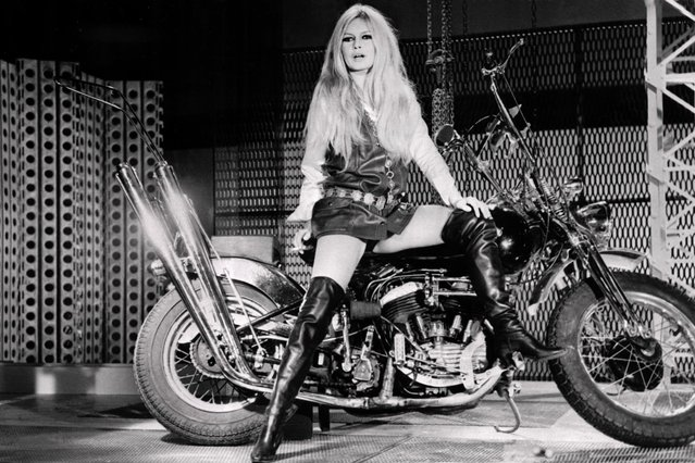 Photo of French actress Brigitte Bardot taken December 12, 1967 on his motorcycle. (Photo by AFP Photo)