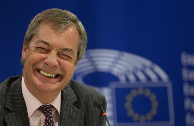 Brexit Party leader Nigel Farage speaks during a media conference at the European Parliament in Brussels, Wednesday, January 29, 2020. The U.K. is due to leave the EU on Friday, Jan. 31, 2020, the first nation in the bloc to do so. It then enters an 11-month transition period in which Britain will continue to follow the bloc's rules while the two sides work out new deals on trade, security and other areas. (Photo by Virginia Mayo/AP Photo)