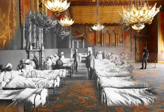 A superimposed image shows Injured soldiers of the British Army at the Brighton Pavilion, converted into a military hospital around 1915, with what the Music Room at the Royal Pavilion looked like earlier this month. (Photo by Peter Macdiarmid/Getty Images)