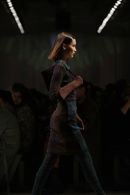 Model Bella Hadid wears a creation as part of the Missoni Fall/Winter 2020 collection, presented in Milan, Italy, Saturday, February 22, 2020. (Photo by Antonio Calanni/AP Photo)