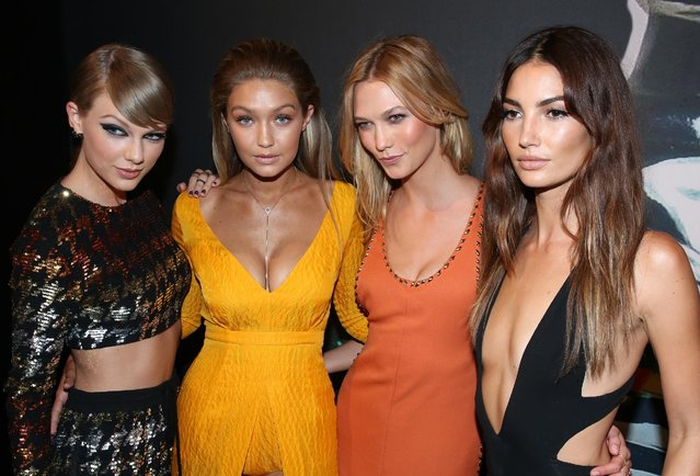 Taylor Swift, from left, Gigi Hadid, Karlie Kloss and Lily Aldridge arrive at the MTV Video Music Awards at the Microsoft Theater on Sunday, August 30, 2015, in Los Angeles. (Photo by Matt Sayles/Invision/AP Photo)