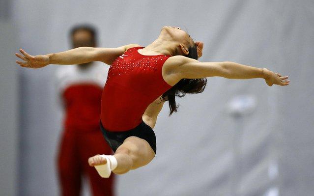 2016 Rio Olympics, Artistic gymnastics, Women's Training, Rio Athletes Park, Rio De Janeiro, Brazil on July 27, 2016. A gymnast from Japan trains. (Photo by Ivan Alvarado/Reuters)