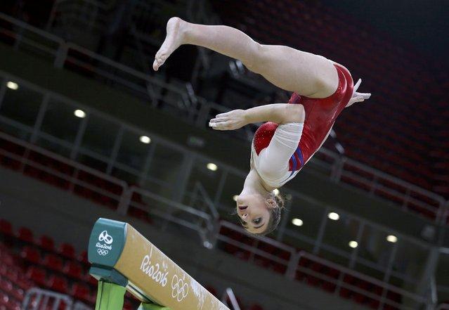 2016 Rio Olympics, Gymnastics training, Rio Olympic Arena, Rio de Janeiro, Brazil on August 4, 2016. Aliya Mustafina (RUS) of Russia trains. (Photo by Damir Sagolj/Reuters)