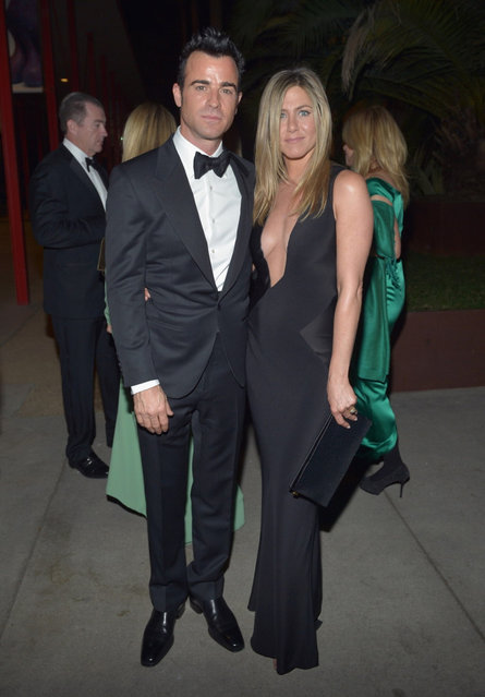 (L-R) Actors Justin Theroux and Jennifer Aniston attend LACMA 2012 Art + Film Gala Honoring Ed Ruscha and Stanley Kubrick presented by Gucci at LACMA on October 27, 2012 in Los Angeles, California. (Photo by John Sciulli)