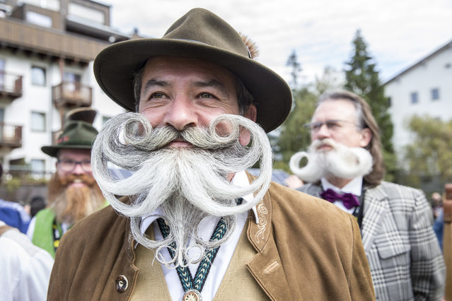 A contestant of the World Beard And Mustache Championships poses for a picture during the opening ceremony of the Championships 2015 on October 3, 2015 in Leogang, Austria. (Photo by Jan Hetfleisch/Getty Images)