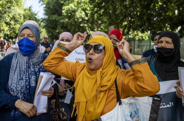 Tunisians stage a demonstration in front of Embassy of Spain demanding the release of Tunisian migrants who are held under bad living conditions at a migrant camp in Spain's Melilla city on September 04, 2020 in Tunis, Tunisia. (Photo by Nacer Talel/Anadolu Agency via Getty Images)