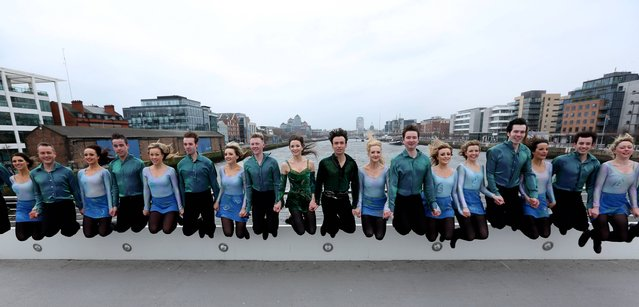Pictured are Riverdance performers, on March 21, 2013, at the launch of Riverdance – The Gathering, a seven day festival, taking place in July, to mark the Gathering Ireland 2013. This unique festival will celebrate the magic and international appeal of Irish dancing and will provide overseas visitors with an opportunity to be a part of the global Riverdance phenomenon. The festival schedule includes Riverdance – the Gathering  Longest Line, an attempt to break the world record for the longest line of Riverdancers. (Photo by Jason Clarke Photography)