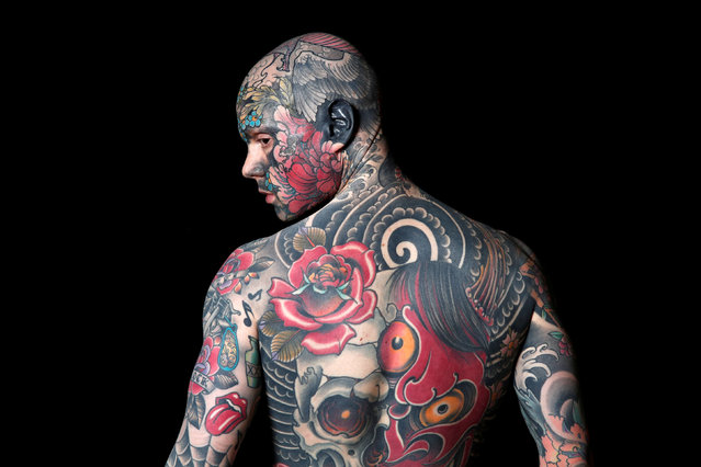 """Sylvain, a school teacher and model from France poses for a photograph during """"Le Mondial du Tatouage"""", a tattoo convention in Paris, France, March 9, 2018. (Photo by Benoit Tessier/Reuters)"""