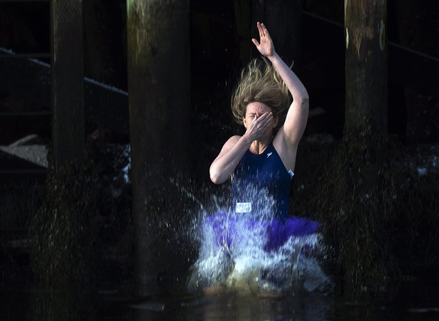 A woman plugs her nose as she leaps from the government wharf into the frigid North Atlantic in the annual New Year's Day polar bear swim in Herring Cove, Nova Scotia, Canada, on Thursday, January 1, 2015. (Photo by Andrew Vaughan/AP Photo/The Canadian Press)