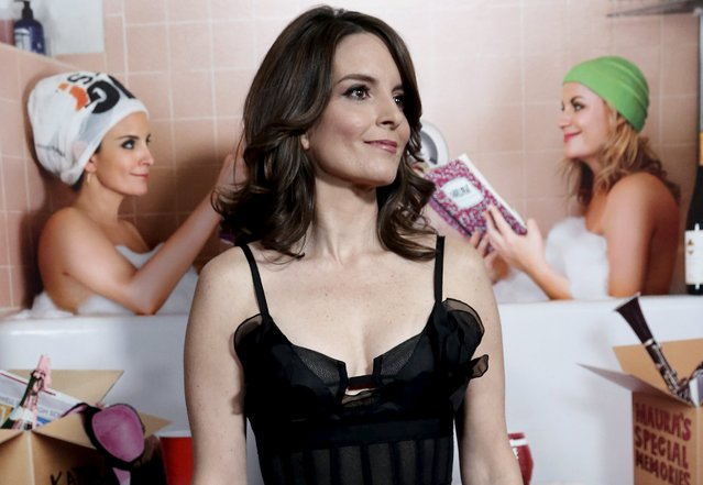 """Actress Tina Fey poses as she arrives for the world premiere of the film """"Sisters"""" at the Ziegfeld Theater in the Manhattan borough of New York City, December 8, 2015. The film, which stars Fey and Amy Poehler opens nationwide December 18, 2015. (Photo by Mike Segar/Reuters)"""
