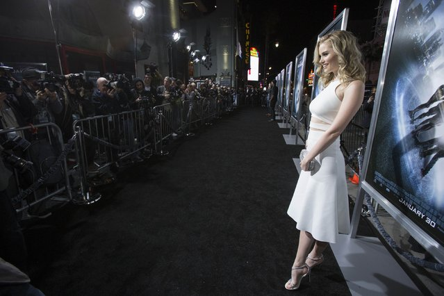 """Cast member Virginia Gardner poses at the premiere of """"Project Almanac"""" at the TCL Chinese theatre in Hollywood, California January 27, 2015. The movie opens in the U.S. on January 30. (Photo by Mario Anzuoni/Reuters)"""