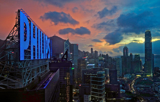 A general view of Hong Kong's business district is seen Thursday, August 1, 2013. The Hong Kong Observatory has issued a strong wind signal number three as Tropical Storm Jebi edges closer to Hong Kong. (Photo by Vincent Yu/AP Photo)