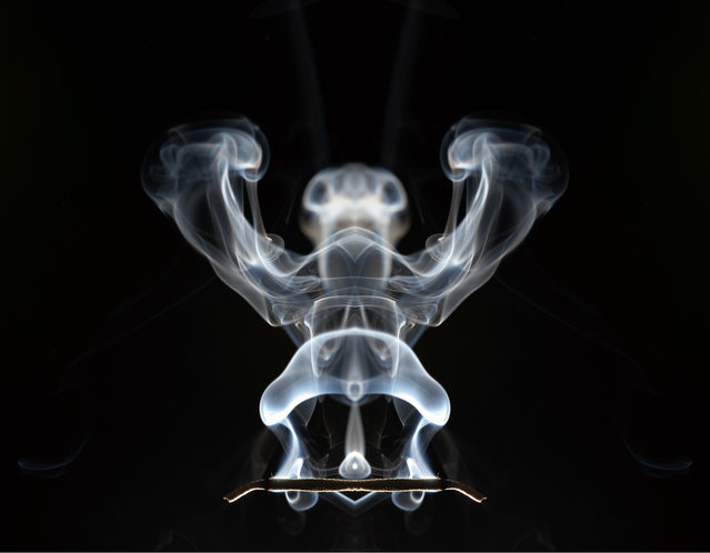 Smoke patterns created by igniting gasoline in midair. (Photo by Rob Prideaux)
