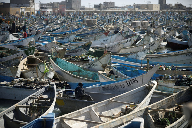 Artisanal fishing boats moored in the harbour at Nouadhibou, the main port in Mauritania, April 14, 2018. (Photo by Sylvain Cherkaoui/Reuters)
