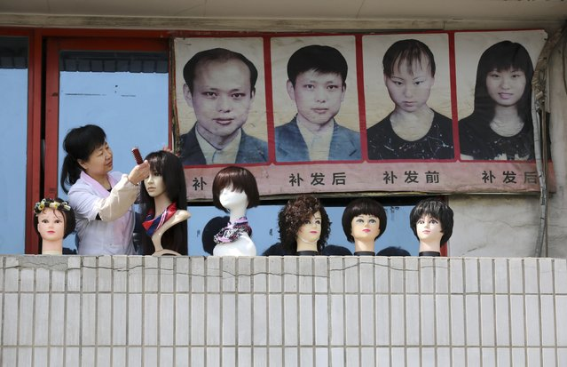 An employee comb wigs on a balcony of a hairdressing store in front of a board showing a hair planting advertisement, in Beijing, March 15, 2015. (Photo by Reuters/Stringer)