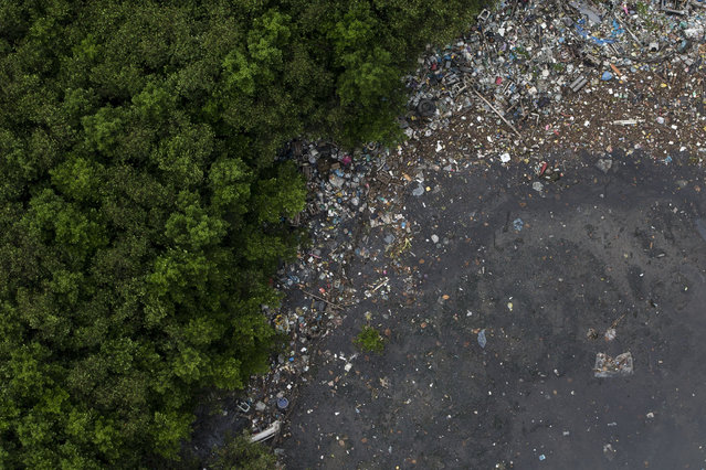 This aerial view shows the littered shore of a water channel that flows into the Guanabara Bay in Rio de Janeiro, Brazil, Monday, March 23, 2015. (Photo by Felipe Dana/AP Photo)