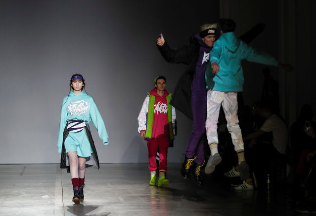 Models present creations by Ukrainian designer Sofia Rousinovich during Ukrainian Fashion Week in Kiev, Ukraine, February 4, 2019. (Photo by Valentyn Ogirenko/Reuters)