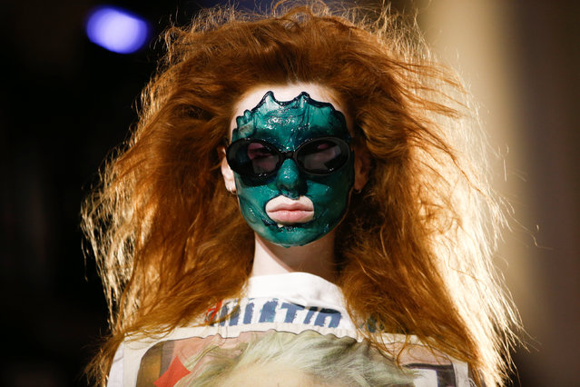 A model presents a creation during the Vivienne Westwood catwalk show at London Fashion Week Women's A/W19 in London, Britain February 17,  2019. (Photo by Henry Nicholls/Reuters)