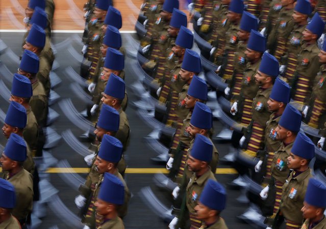 Indian soldiers march during the Republic Day parade in New Delhi, India January 26, 2017. (Photo by Adnan Abidi/Reuters)