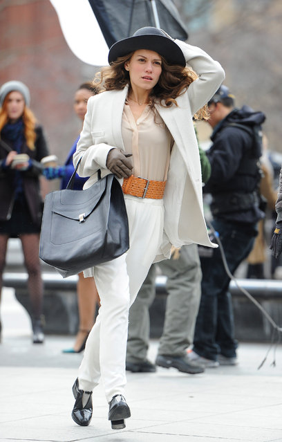 "Bethany Joy Lenz in all white outfit on the set of ""Songbyrd"" in NYC, on January 20, 2014. (Photo by Bethany Joy Lenz)"