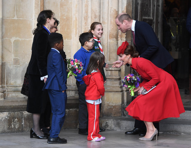 Britain's Prince William (rear-R) and Catherine, Duchess of Cambridge (front-R) talk to children as they leave a Commonwealth service at Westminster Abbey in London, Britain, 11 March 2019. The Commonwealth represents a global network of 53 countries and almost 2.4 billion people, a third of the world's population, of whom 60 percent are under 30 years old. (Photo by Facundo Arrizabalaga/EPA/EFE)