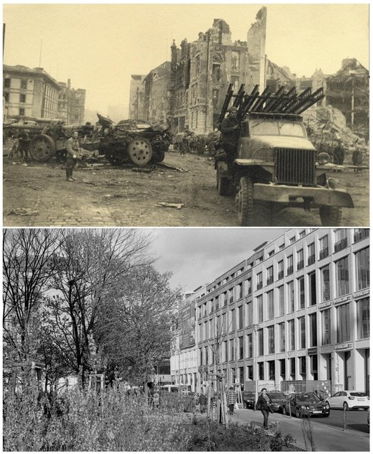 A combination photo shows a Russian army vehicle next to the Neue Reichskanzlei (New Reich Chancellery), the Chancellery of Adolf Hitler at Voss Street in this undated photo taken May 1945 in Berlin (top) and at the same location (bottom) April 20, 2015. (Photo by Georgiy Samsonov (top)/Fabrizio Bensch (bottom)/Reuters/MHM)