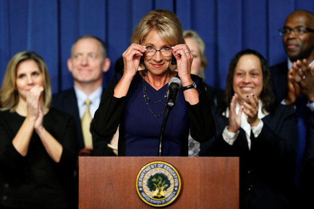 U.S. Education Secretary Betsy DeVos concludes her remarks to Education Department staff on her first day on the job in Washington, U.S., February 8, 2017. (Photo by Jonathan Ernst/Reuters)