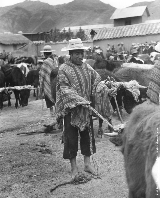 Quechua Indians, the descendants of Incas, at a market to sell their produce and buy supplies, 1955