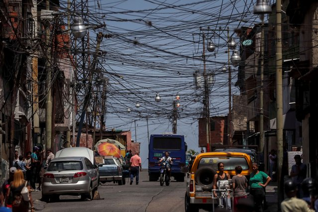 A view of electricity wires, in Caracas, Venezuela, 03 April 2019. West Venezuela started receiving electricity intermittently in the states of Zulia, Falcon, Merida and Trujillo after 100 hours without power. (Photo by Miguel Gutierrez/EPA/EFE/Rex Features/Shutterstock)